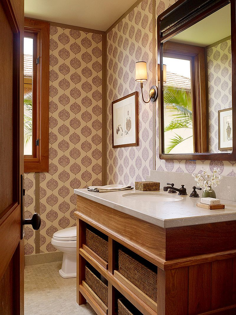 Another beautiful tropical bathroom where wallpaper sets the mood [Design: GM Construction]