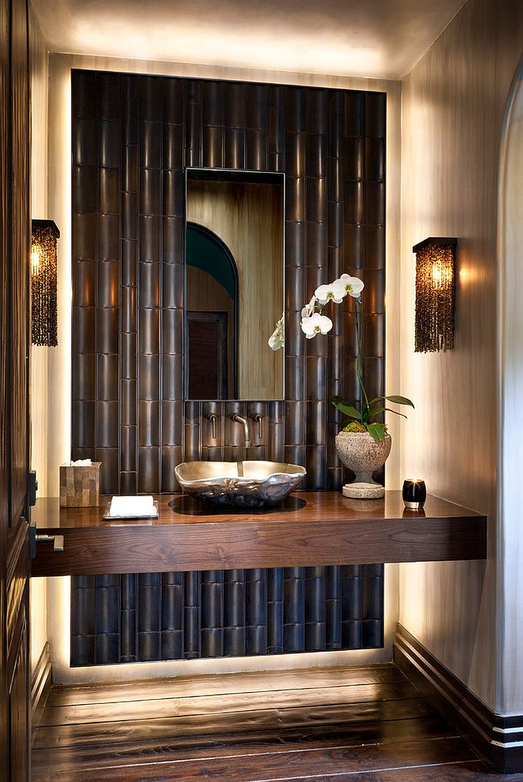 Bamboo tiles steal the show in this powder room [Design: Malgosia Migdal]
