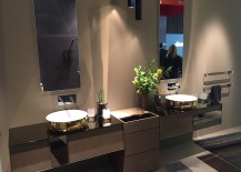 Bathroom sinks woth golden metallic glint - inda at Salone del Mobile 2016