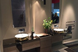 Bathroom sinks woth golden metallic glint - inda at Salone del Mobile 2016