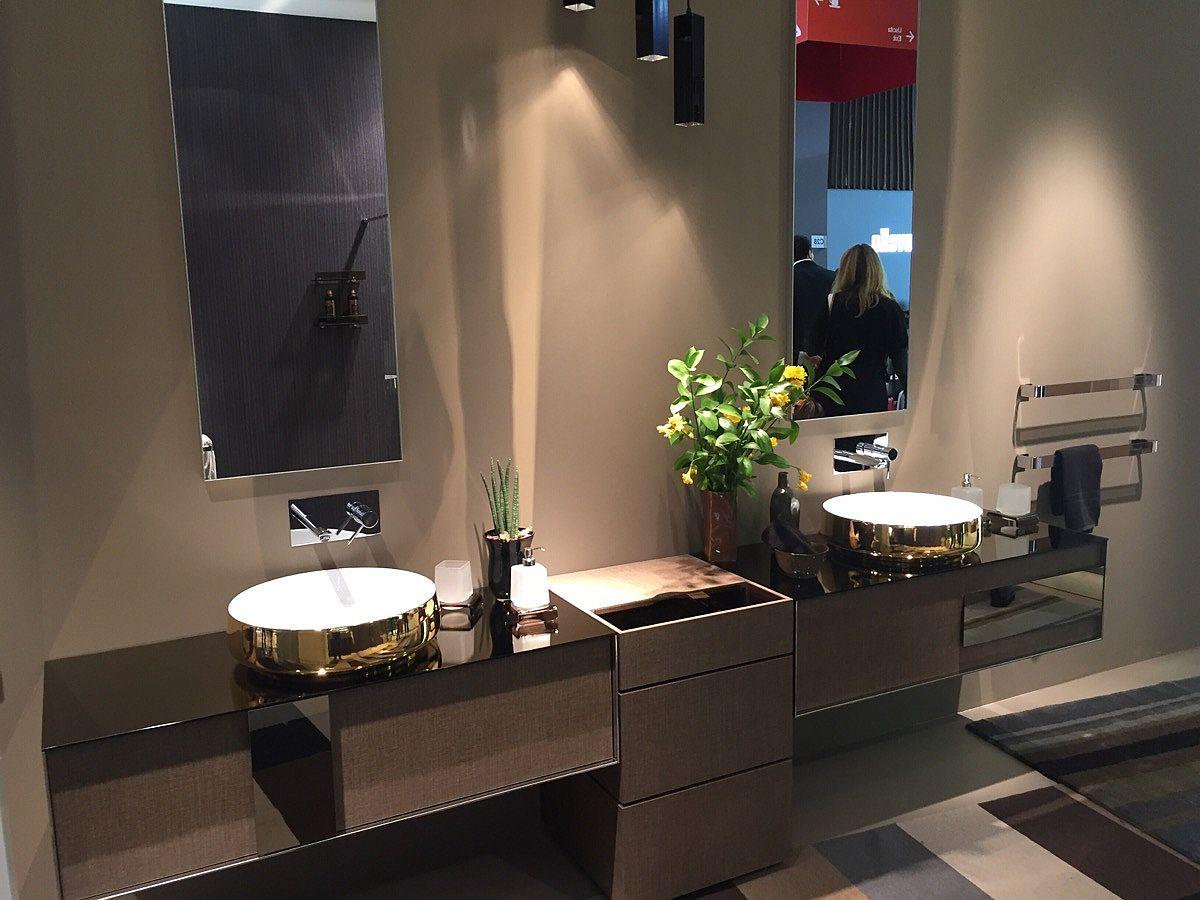 Bathroom sinks woth golden metallic glint – inda at Salone del Mobile 2016