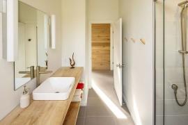 Bathroom vanity in silver maple