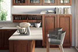 Beautiful kitchen with stone worktop wooden shelves and smart island 270x180 Contrada: Time for a Modern Vintage Makeover from Arrital