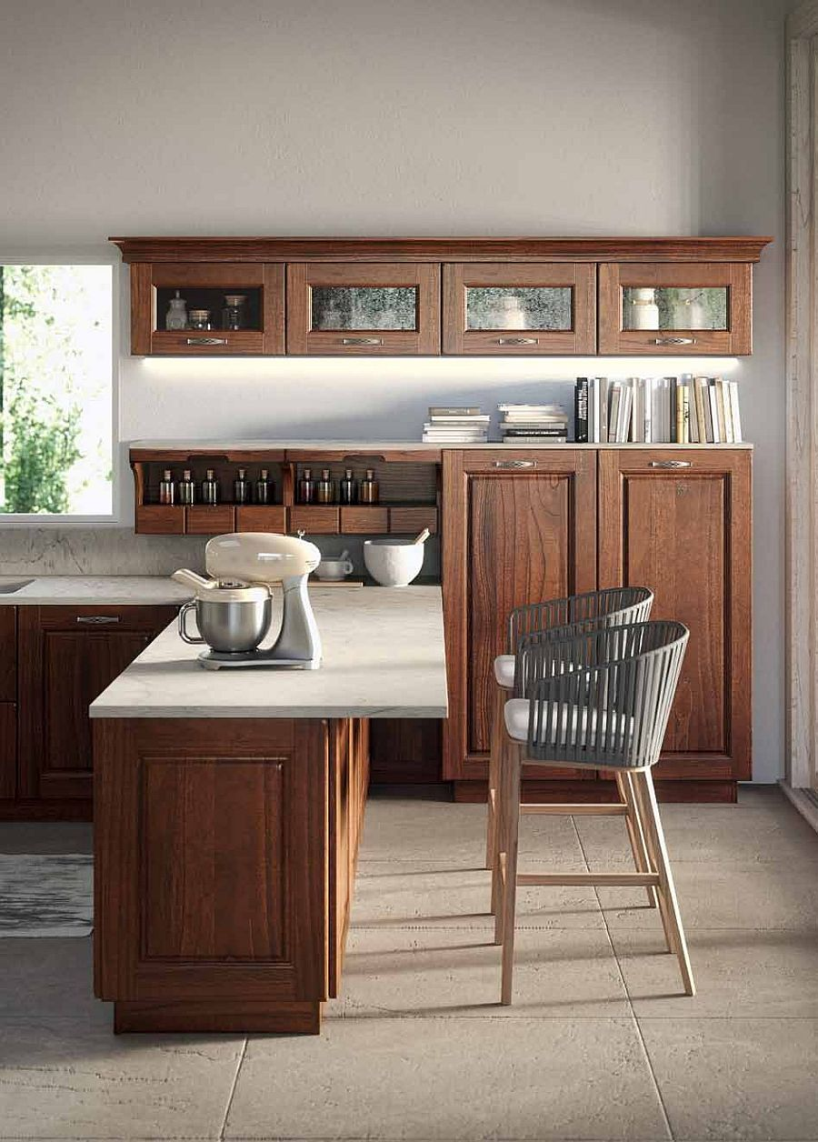 Beautiful kitchen with stone worktop, wooden shelves and smart island