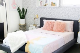 Bedroom makeover featuring potted plants