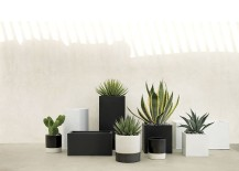 Black and white planters from CB2