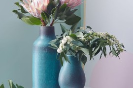 Blue ceramic vases from West Elm
