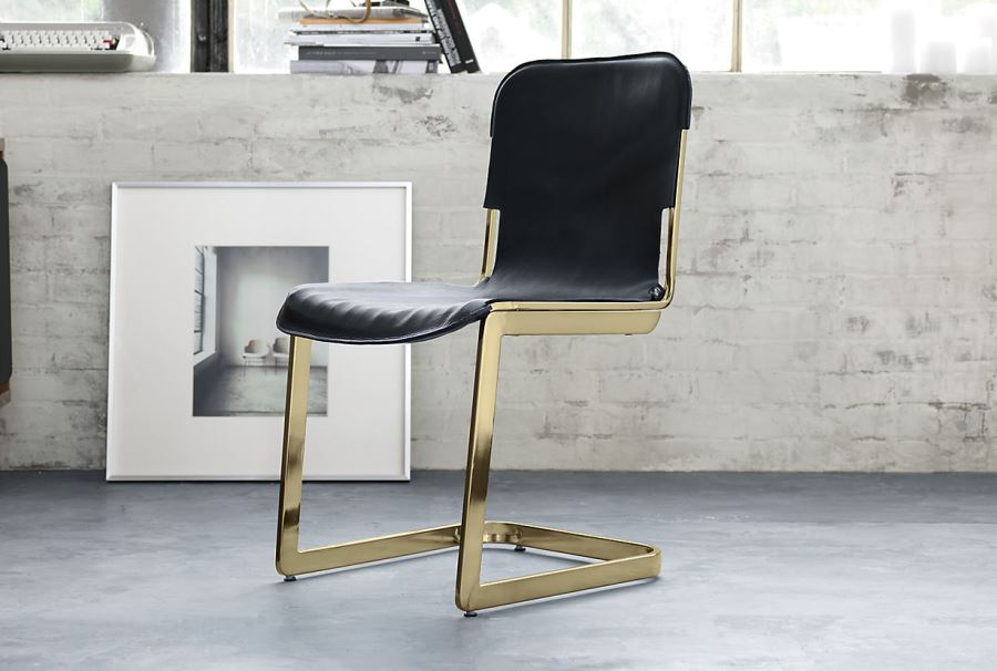Brass and leather chair from Kravitz Design for CB2