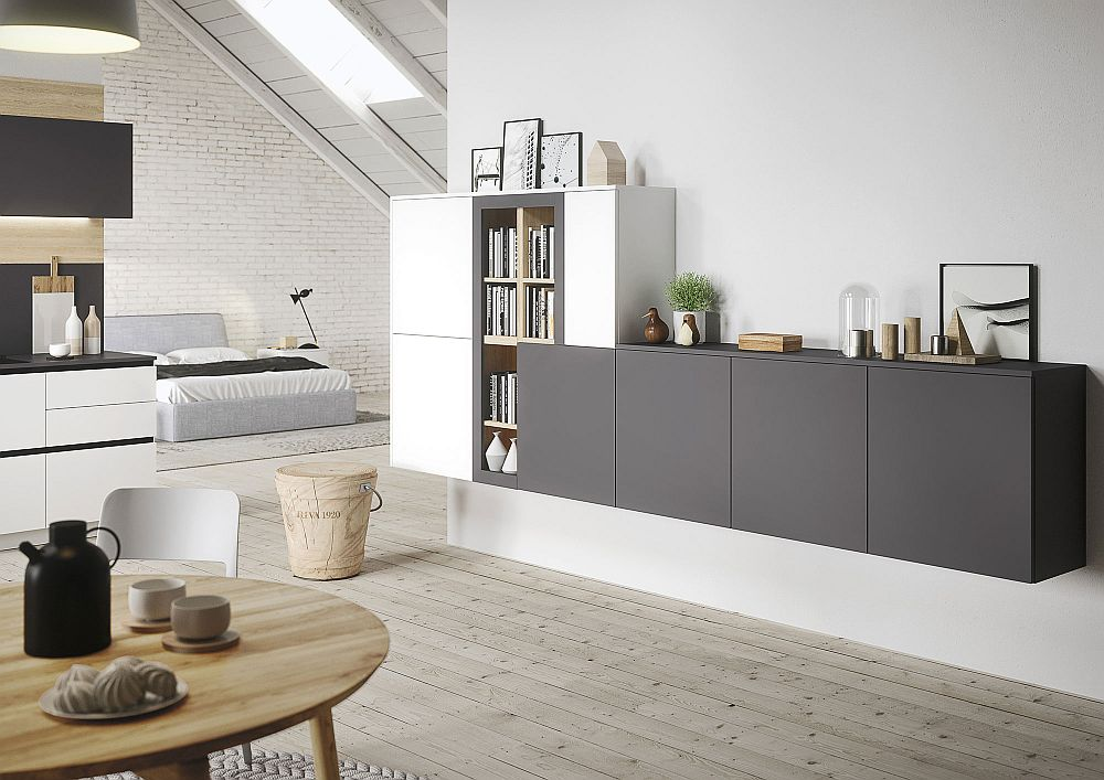Brilliant shelves ergonomically combine the open livings pace and kitchen
