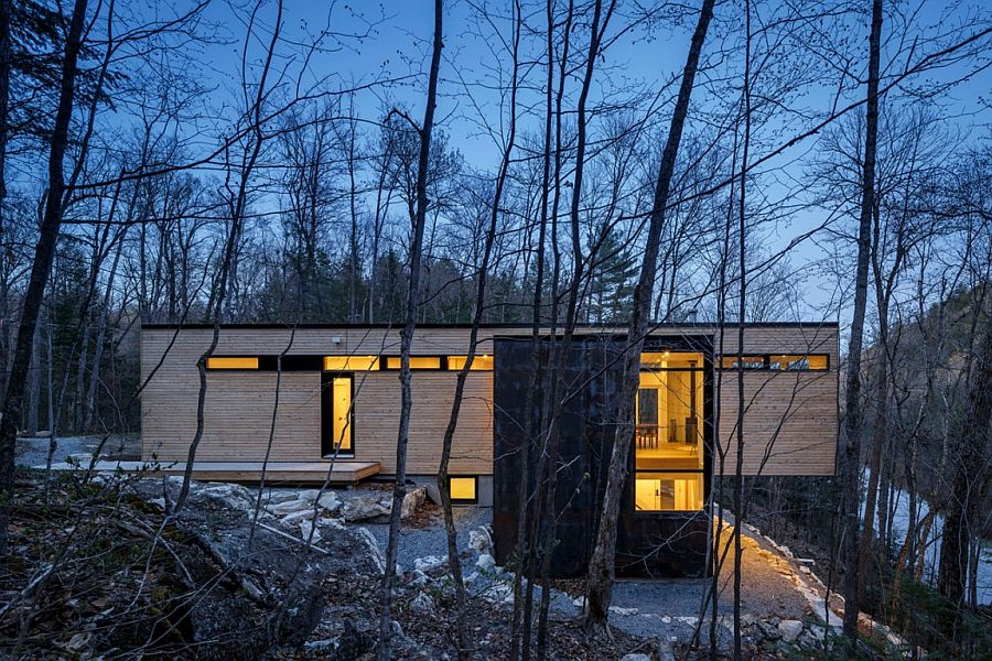 Cantilevered structure of modern family cottage in Canada