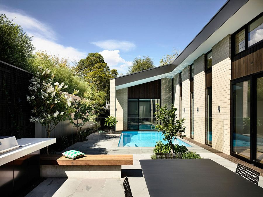 Central courtyard of the stylish home in a Melbourne suburb