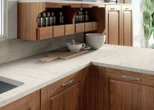Closer look at the worktop and cabinets of Contrada