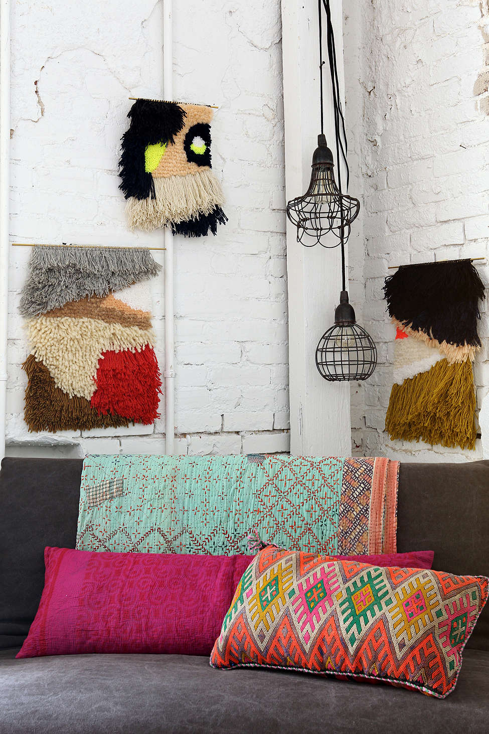 Collection of colorful wall hangings from Urban Outfitters