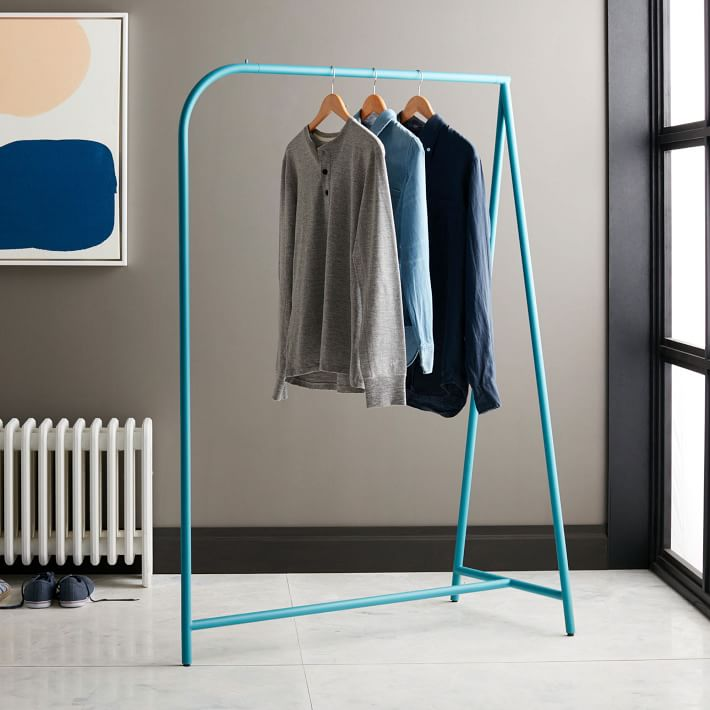 Colorful clothing rack from West Elm
