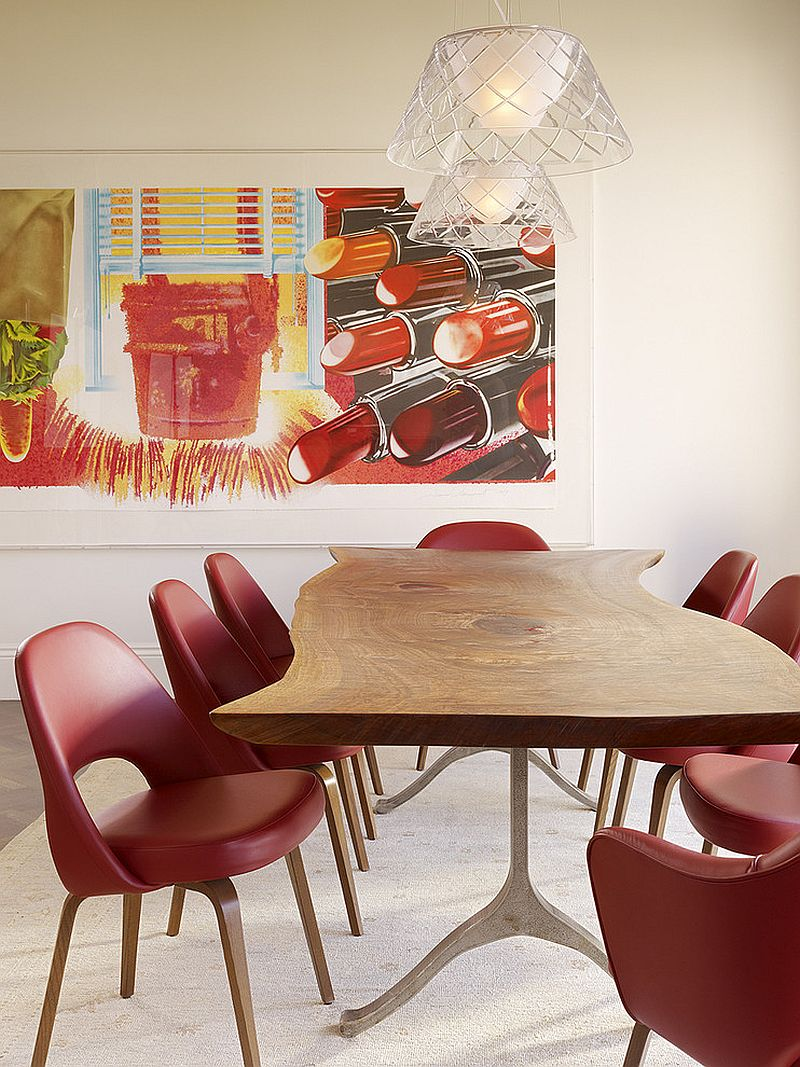 Colorful modern dining room with Phillipe Starck Romeo Louis II pendant