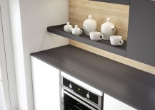Combining open shelves with cabinets gives a smart and stylish kitchen