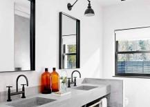 Concrete creates a lovely vanity inside the bathroom