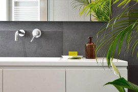 Contemporary bathroom in gray and white