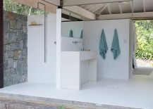 Contemporary bathroom in white of the small beach house