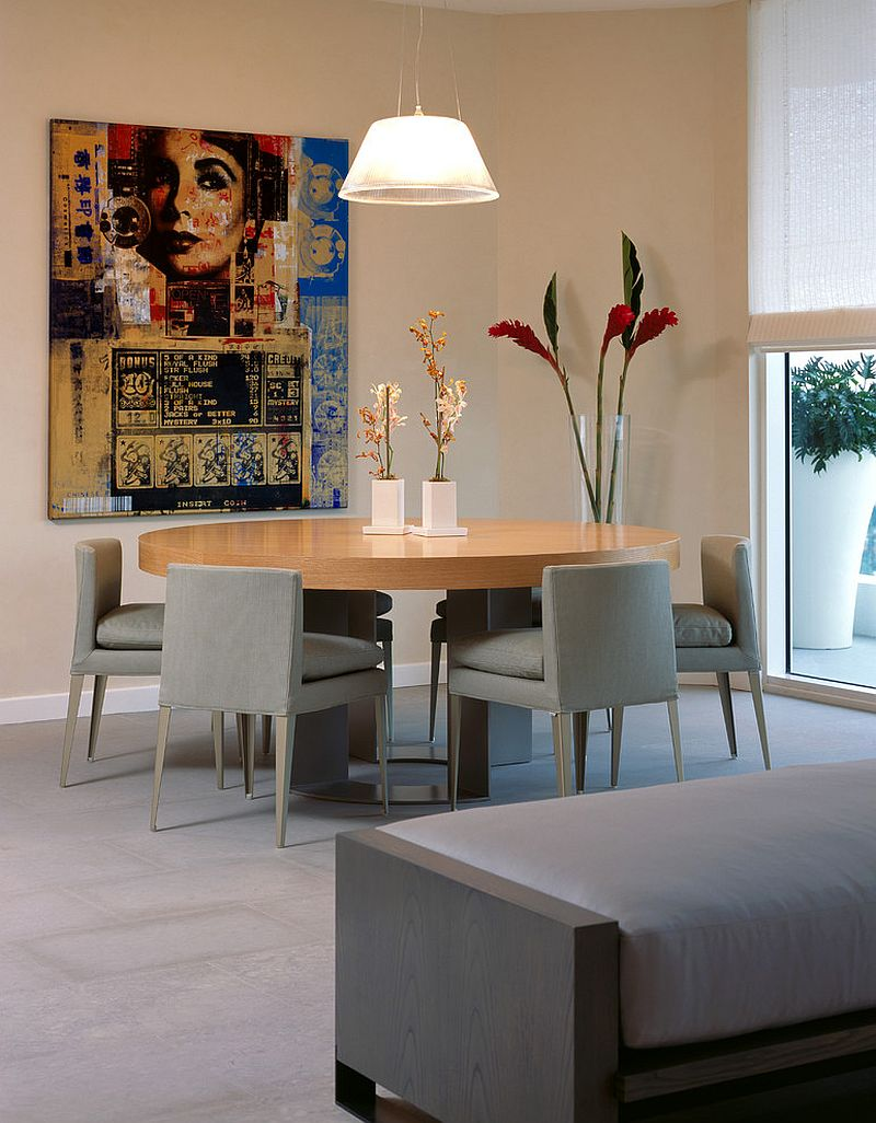 Contemporary dining room with the Romeo Moon S2 Pendant [Design: LKID / Photography: Robert Brantley]