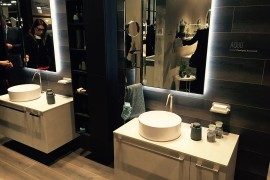 Contemporary vanity units and mirrors at the Aquo collection