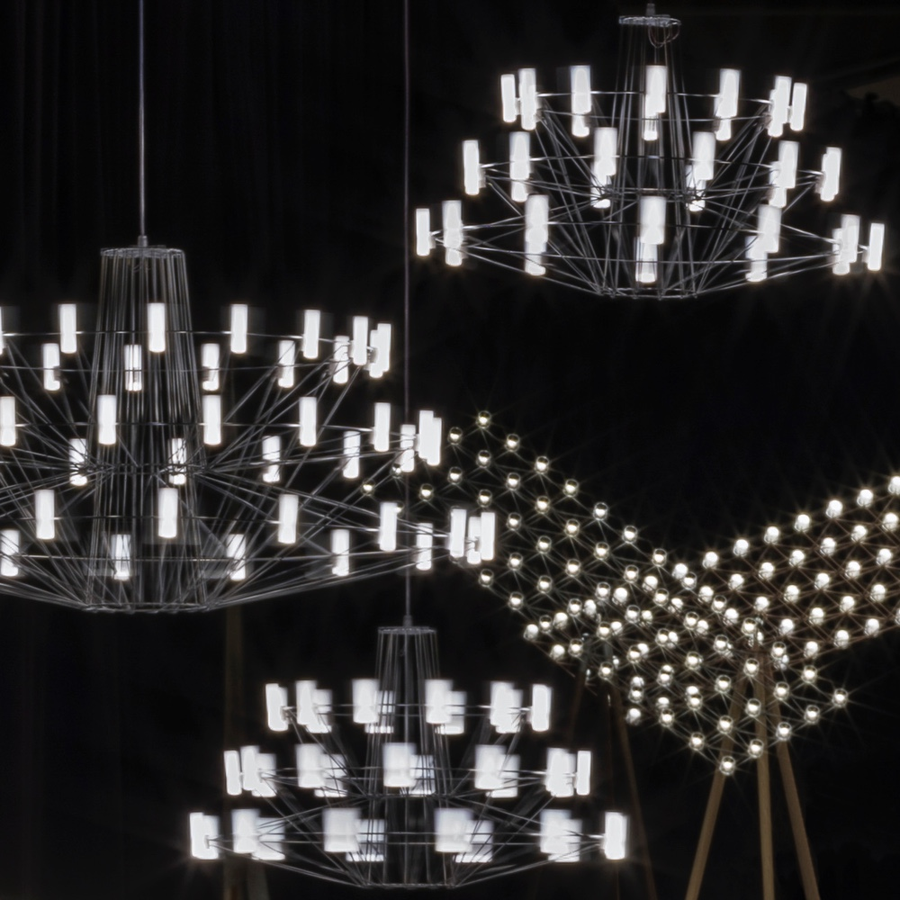 Coppélia Small and Spaceframe Floor lights