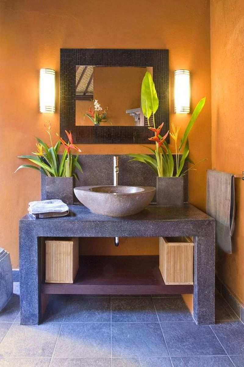 Cozy Balinese-inspired powder room design