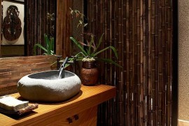 Custom bamboo divider for the tropical powder room