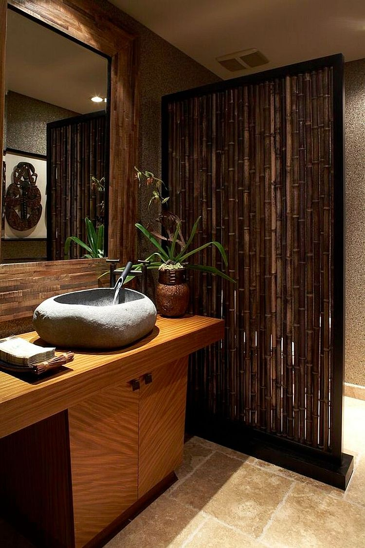 Custom bamboo divider for the tropical powder room [Design: Knudson Interiors / Photography: Linny Morris]