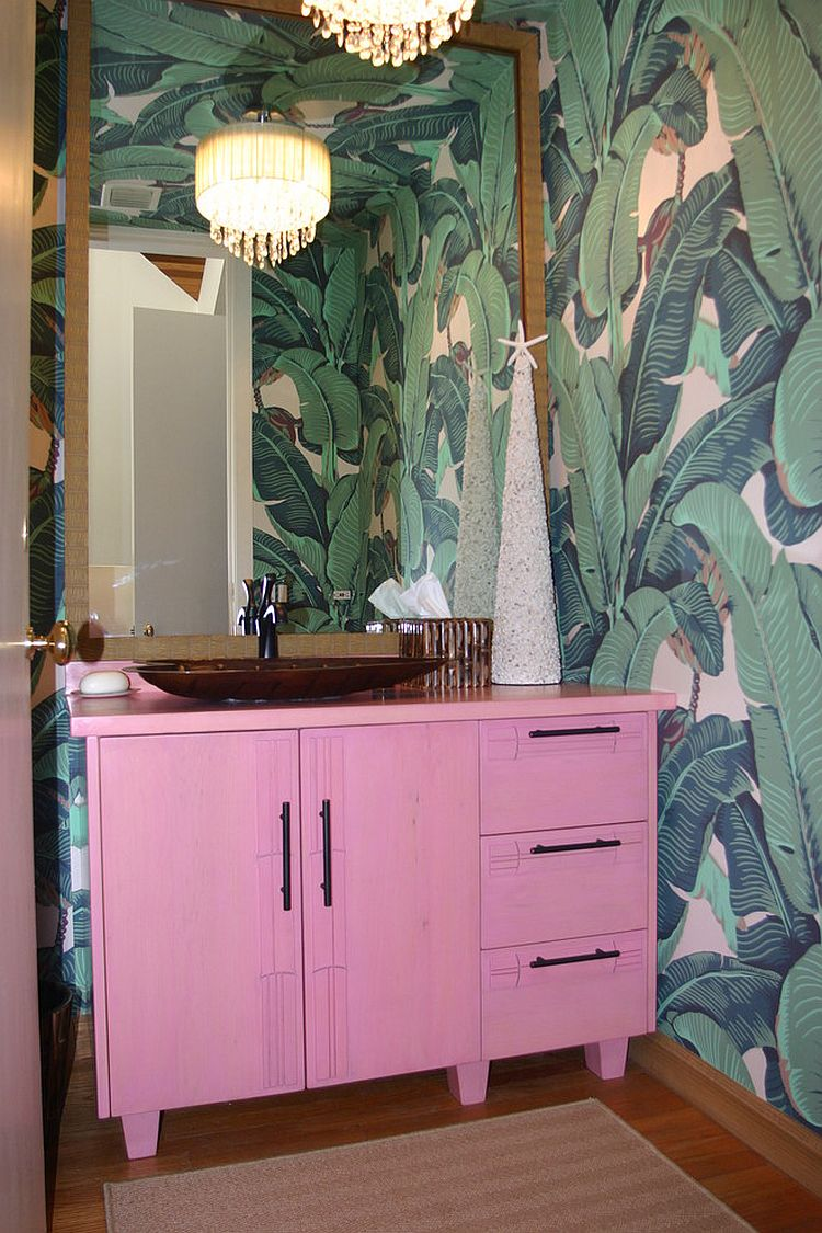 Custom pink vanity for the smart, tropical bathroom [Design: Dodd Holsapple]