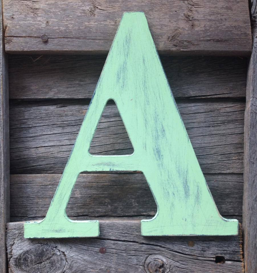 Custom wooden letter from Etsy shop From a Little Dust