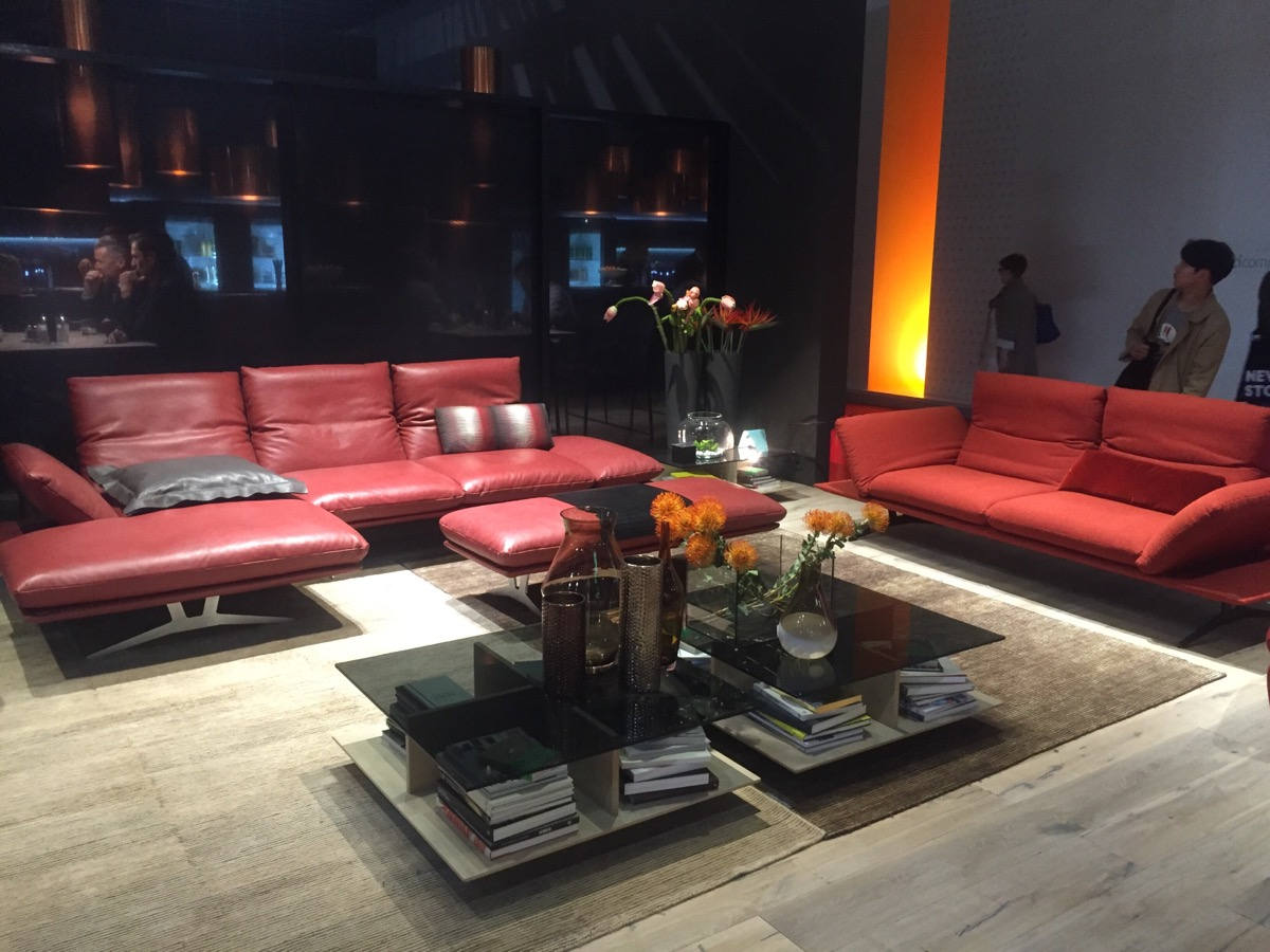 Delightful and dashing modern sofas in red at Salone del Mobile