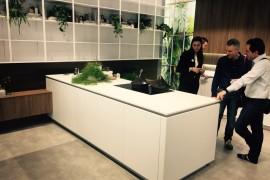 Elegant contemporary kitchen island in white