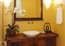 Fabulous, cutom-crafted vanity for the warm, tropical powder room