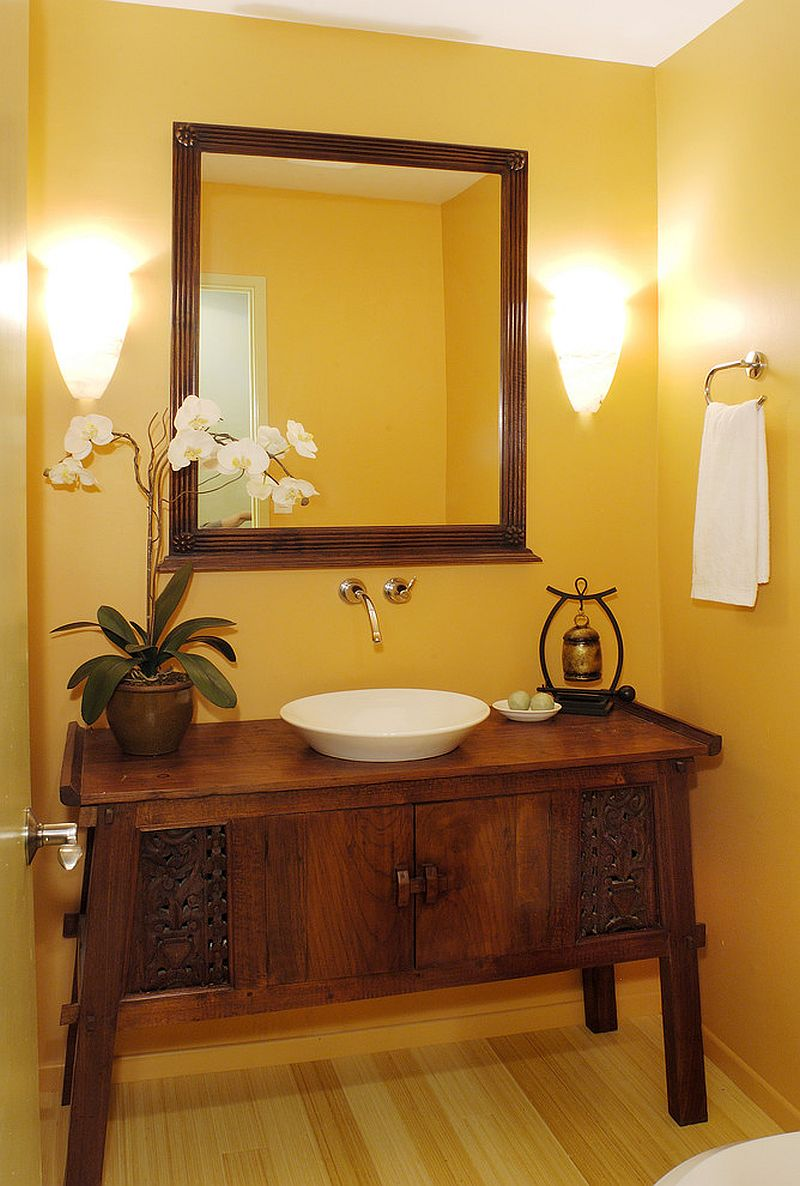 Fabulous, custom-crafted vanity for the warm, tropical powder room [Design: Archipelago Hawaii Luxury Home Designs]