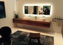 Fabulous floating wooden vanity with twin sinks