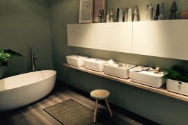 Fabulous freestanding bathtub adds to the charm of the sleek contemporary Scavolini bathroom