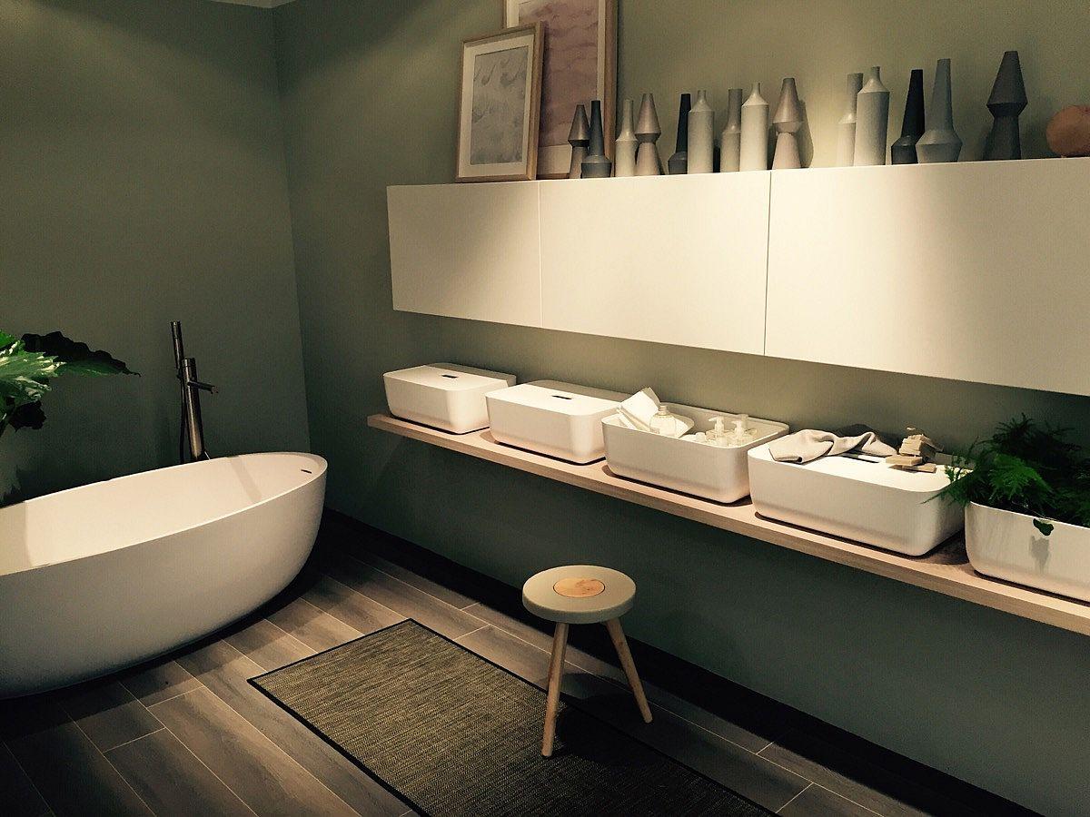 Fabulous freestanding bathtub adds to the charm of the sleek contemporary Scavolini bathroom