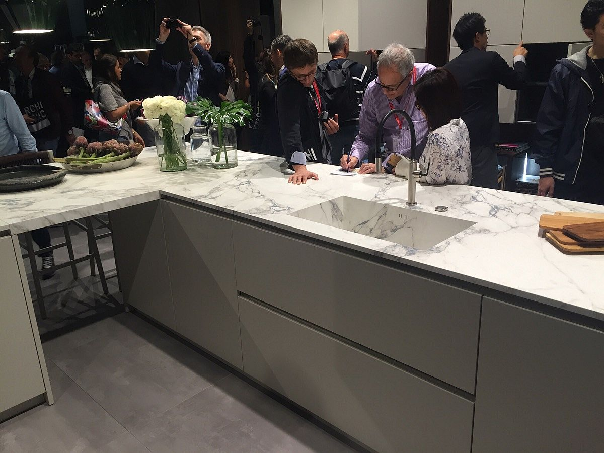 Fabulous marble countertops of Pedini's latest kitchen