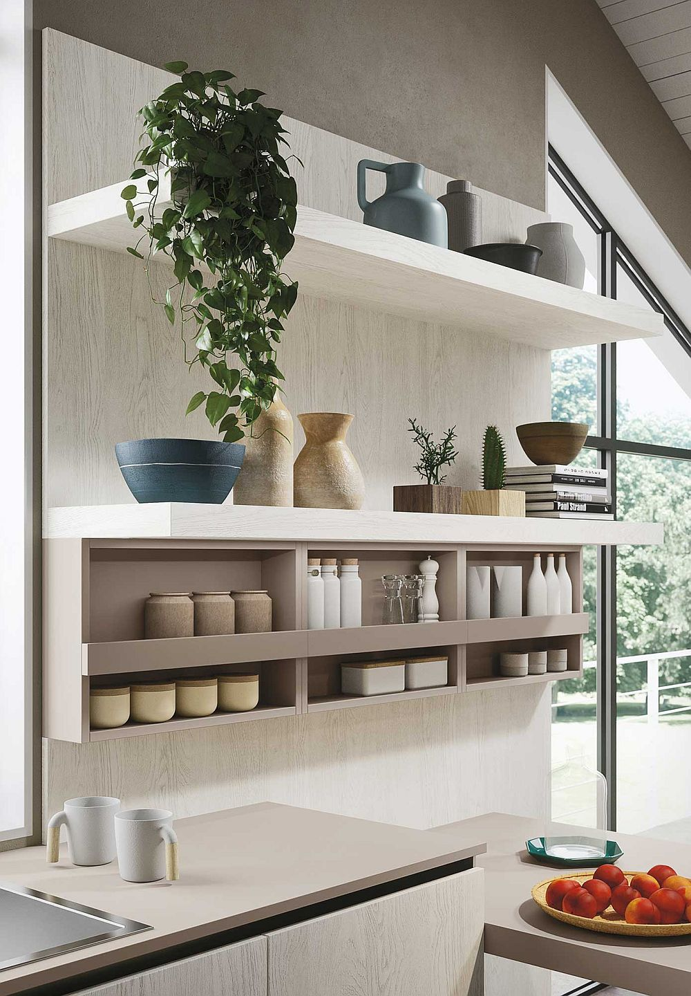 Fabulous open kitchen shelves for the minimal, contemporary kitchen