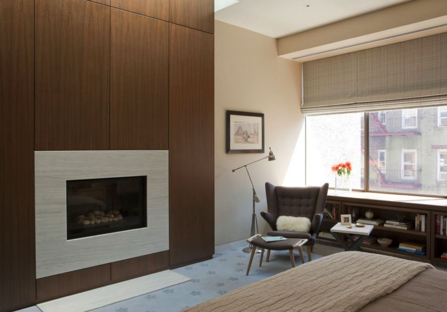 Fireplace wall with wooden panels