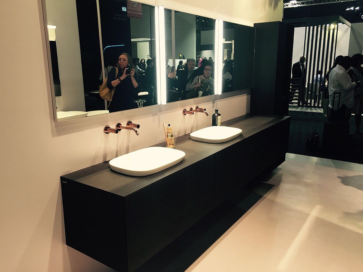 Floating vanity in black by Laufen Bathrooms at Salone del Mobile, Milan