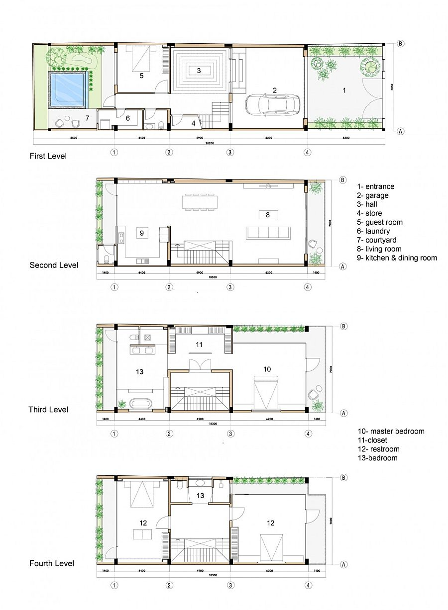 Floor plan of diferent levels of the private home in Ho Chi Minh City