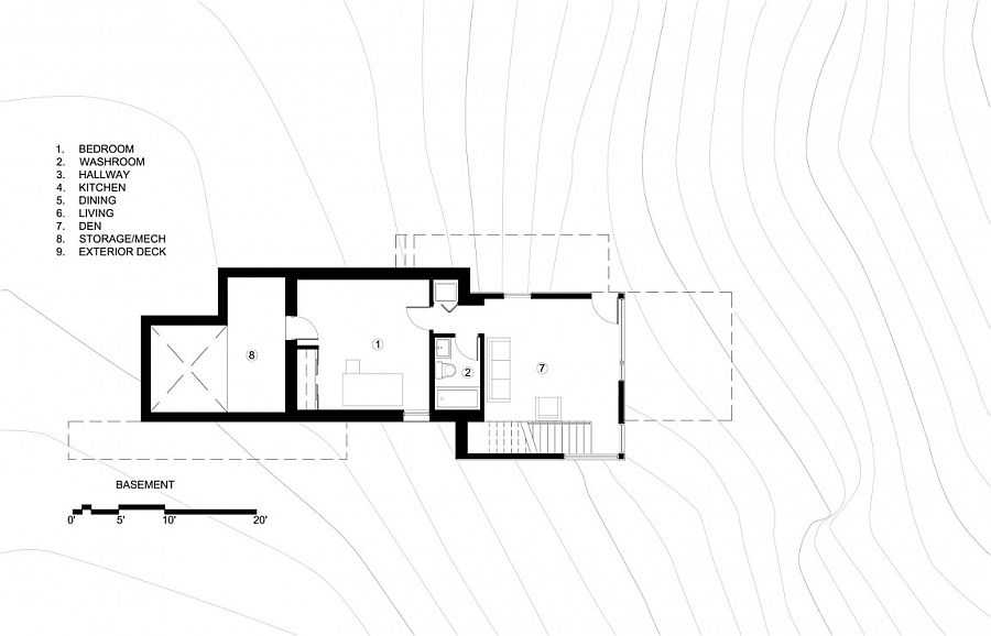 Floor plan of the basement level of Val des Monts cottage