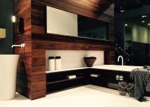 Flowing bathroom design draped in wood by Falper