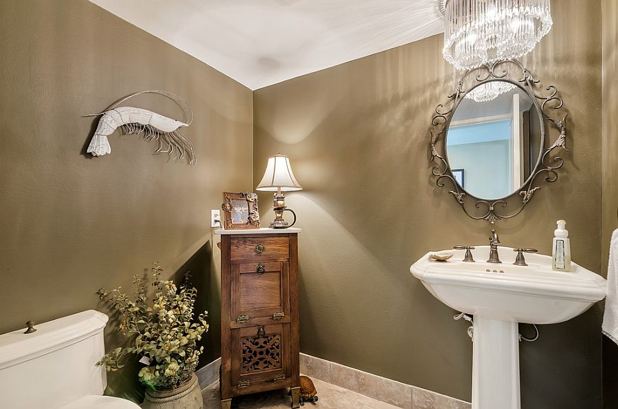 Glamorous powder room with a blend of tropical and coastal styles [From: Erin Parker / Emerald Coast Real Estate Photography]