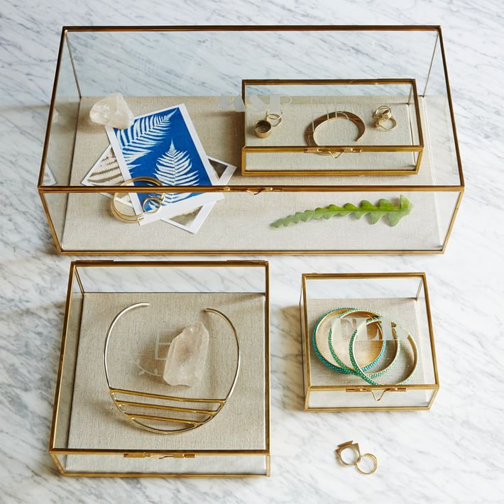 Glass and brass shadow boxes from West Elm