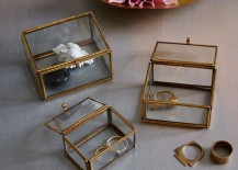 Glass and metal nesting trinket boxes