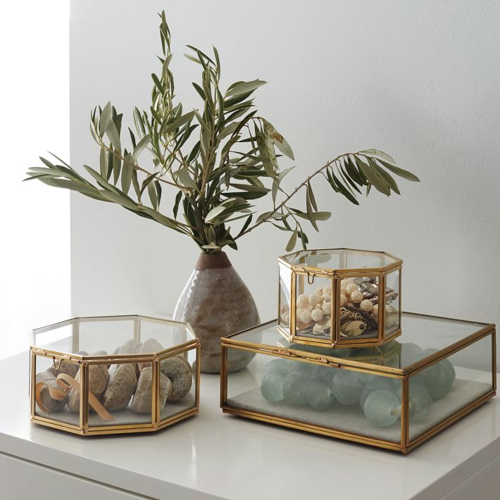 Glass shadow boxes from West Elm