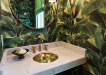 Gorgeous wallpaper brings the charm of large troical plants indoors